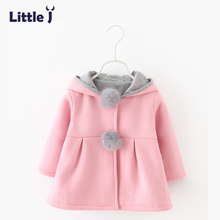Little J Girls Cute Cartoon Pink Rabbit Ear Hooded Jacket Pompom Winter Kids Warm Coats Children Outerwear Long Sleeve Tops 2-5Y(China)