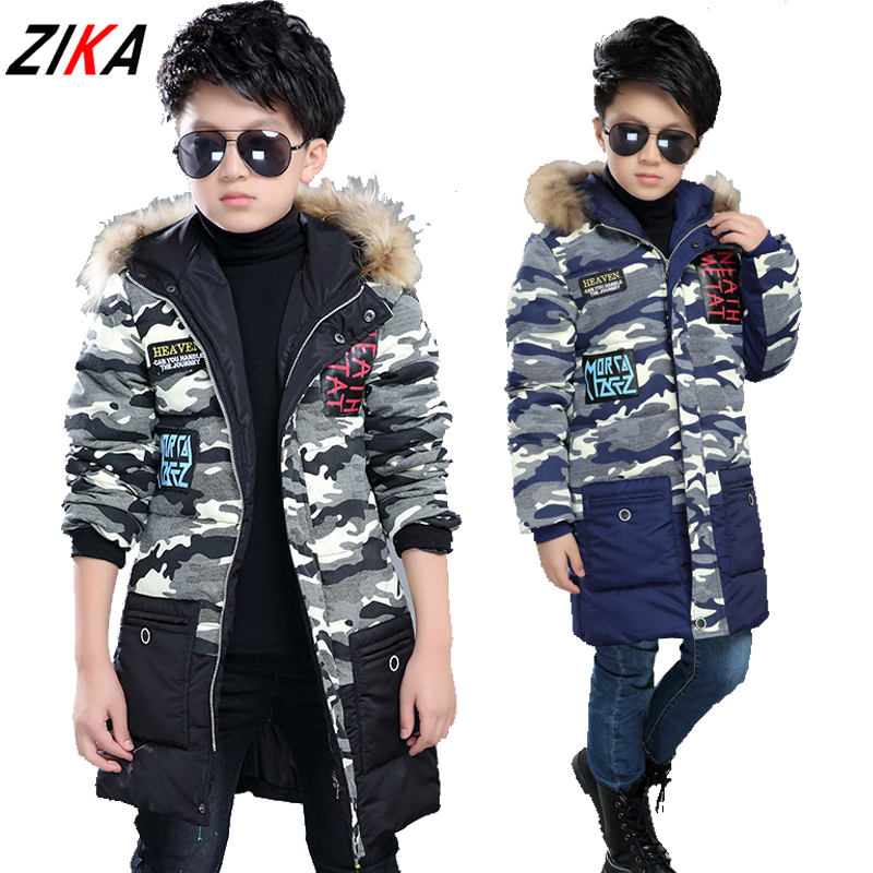 ZiKa New Childrens Clothing Male Winter Cotton-padded Jackets Kids Warm Camouflage Jacket Boys Thicken Hooded Coat Fur OutwearОдежда и ак�е��уары<br><br><br>Aliexpress