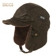 SIGGI Unisex Bomber Pilot Cap for Men Women Winter Aviator Hat faux Leather Earflap Trapper Hunting Russian Windproof 88115(China)