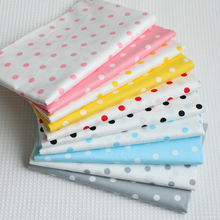 Hot sale Polka Dots Cotton Twill Fabric DIY Sewing upholstery Scrapbooking Tissue Needlework Material Curtain Cloth(China)