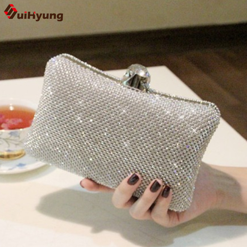New Women Luxurious Sparkling Crystal Bridal Clutch Sided Diamond Hard Case Evening Bag Wedding Party Handbag Chain Shoulder Bag<br>
