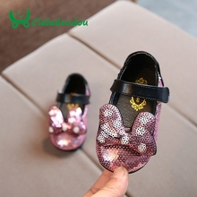 Claladoudou 12-14CM Baby First Walker Shoes Bling Bowtie Baby Prewalker Shoes Cute Black Spring Baby Girls Shoe Silver Toddler(China)