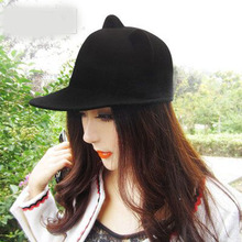 Wool Girls Fedora Hat Winter Black Devil Horns Cute Cat Ear Animal Derby Bowler lovely Cap For Family Hat(China)