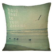 "AIMA With ""hold fast to your dreams"" digital printing wave tide coast beach style home pillowcase 8 style(China)"