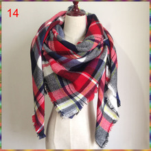 2015 Za Winter Autumn scarf Knit oversize blanket tartan plaid stole Designer Women Bandana Acrylic scarf shawl 140x140cm wrap(China)