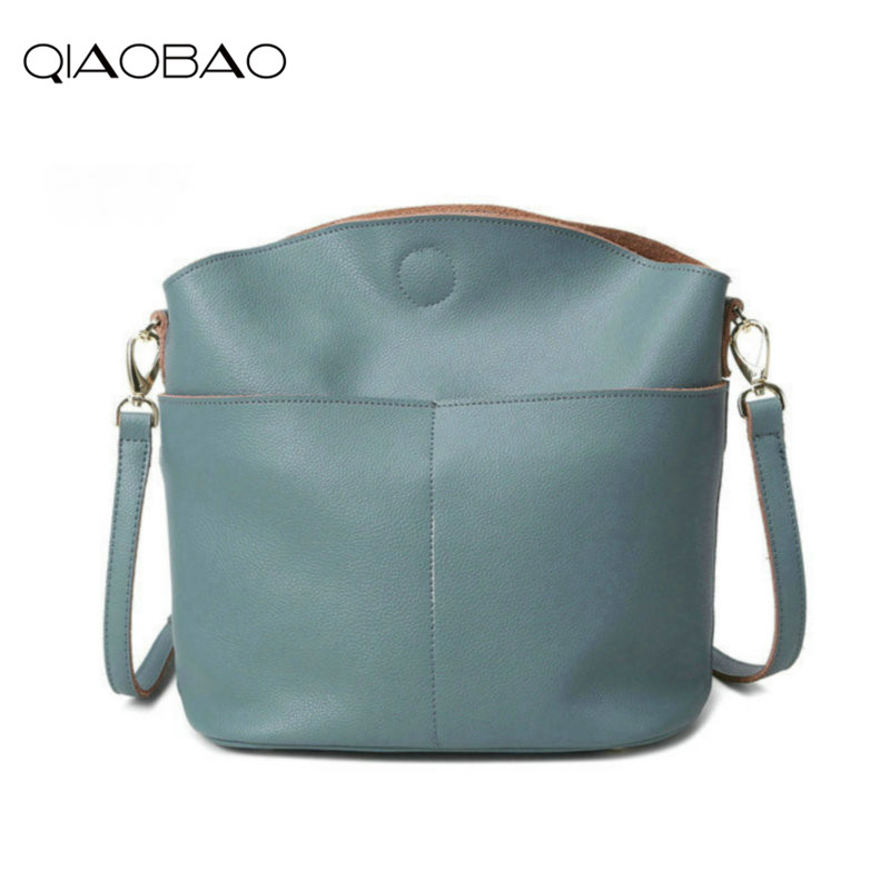 QIAOBAO 100% Genuine leather bags for women shoulder bag Leather Bucket ladies Fashion handbags<br>