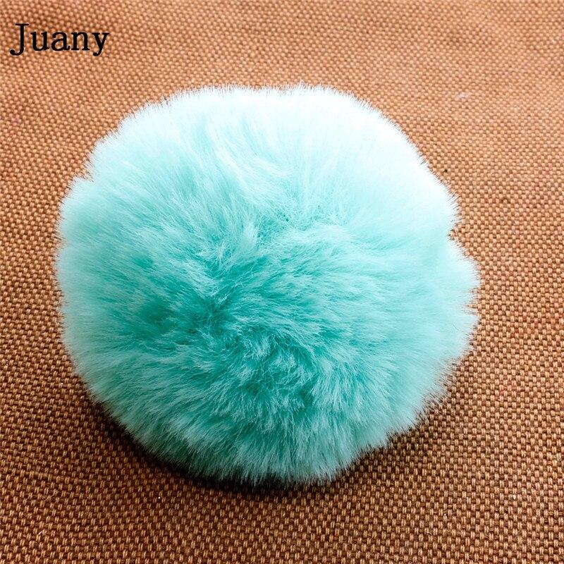 pompom key chain fluffy rabbit fur ball with bell key chain fake fur keychain women car bag key ring 9