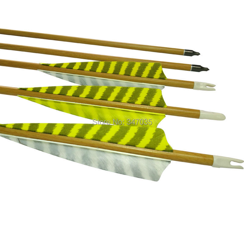 30 inch Wood Camo Carbon Arrows ID 6.2mm SP500 Striped Feather for Outdoor Archery Bow<br>
