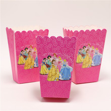 10pcs/lot popcorn box/cup princess theme party decoration for kids happy birthday party supplies child favor baby shower