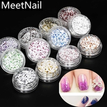 MeetNail 1 Box Nail Mixed Powder Manicure Nail Art Glitter Powder Dust Tip Nail Art Decoration Nail Tools 12 Colors(China)