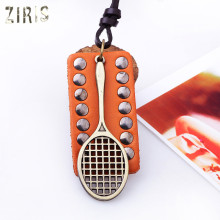 ZIRIS Fashion jewelry personality badminton racket pendant man leather necklace cord(China)