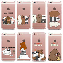 Buy Transparent Plastic Phone Case iPhone SE 5 5S 6 6S 7 Plus Cartoon Animation Bare Bears Grizzly & Panda & Ice Bear Cover for $1.00 in AliExpress store
