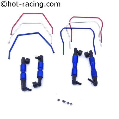 Front and Rear Sway Bar Set for Traxxas 4x4 Slash LCG 4x4 Slash and 1/10 Rally Vehicles<br>