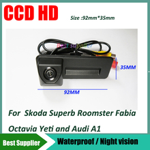 Trunk handle car reverse rear view camera Night vision waterproof color For skoda octavia fabia audi A1 car Rear view camera
