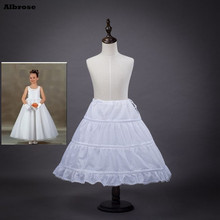 In Stock Three Hoops One Layer Children Petticoat Kid Crinoline For Flower Girl Dresses White Black Red Little Girl Petticoat