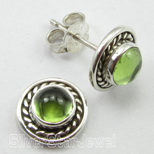 Genuine GREEN PERIDOT Stone,  Solid Silver SIMPLE DECO Studs EARRINGS 1 CM