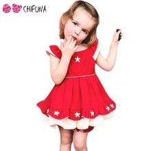 chifuna Cute Brand Girls Dress Red Star Embroidery Princess Dress for 1-6Yrs Baby Summer Party Dress 2017 Kids Dresses for Girls(China)