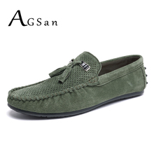 Buy AGSan suede loafers men tassel leather moccasins breathable driving shoes male green slip italian loafers flats casual shoes for $25.06 in AliExpress store