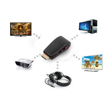 HDMI Male to VGA Female Video Converter Box Adapter Adaptor + 3.5mm AV Audio Cable Compatible For PC / HDTV / PS3 / DVD Black