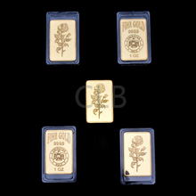 Wholesale Emirates 1 OZ Fine Gold Bar Gold Rose Design Fake Gold Bullion Bars with Plastic Case for Home Decor and Gifts