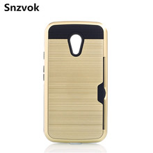 Snzvok Fashion Durable Hard Mobile Phone Protective Cover Case For Motorola Moto G2 G3 G4 Brushed Metal With a Card Slot Case