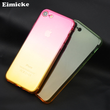 Ultra thin gradient transparent rainbow case for Apple iPhone 7 plus TPU soft rubber protection back cover dustproof shell