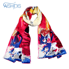 "Aishidis 100% Silk Scarf Women Spring Autumn Long Shawl  Luxury Brand Designer Works Cats ""Walking Pretty"""