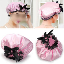 Blue Pink Color Shower Caps Women Waterproof Elastic Band Lace Bow Hat Hair Bath Shower Bouffant Cap Spa Shower Cap(China)