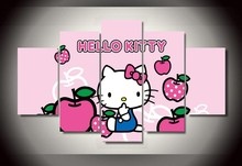 Hello Kitty canvas pictures lovely cartoon painting for your girl as a birthday gift Cheap Wall picture Art Decor On canvas
