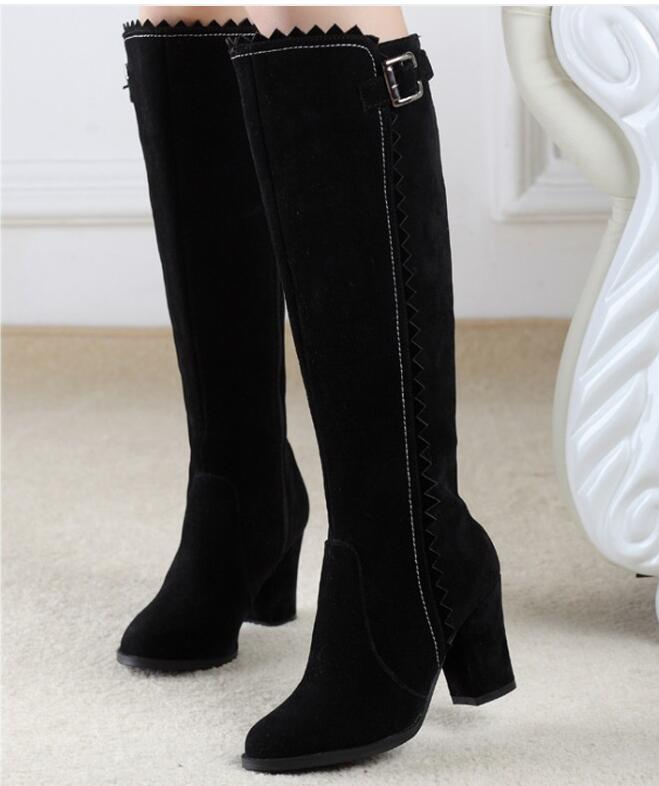 Botas Mujer Sale  Women Knee Boots Supper Knee-high Med Square Heel Sawtooth Winter Womens Shoes Sb625 Size 32 33 -45 46<br><br>Aliexpress
