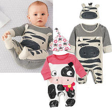 0-24M Baby Romper Clothes Boy Girl 3PCs Newborn Boy Girl Cow Zebra Minions Sleepwear Babygrows Playsuits +Cap