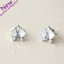 Authentic 925 Sterling Silver Orchid Stud Earring With White Enamel For Girl Woman Fashion Jewelry Making wedding 2017 summer(China)