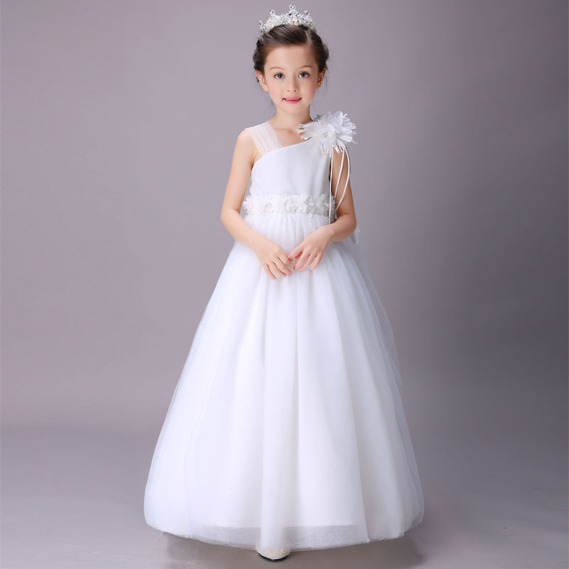 Elegant Girl Wedding Dresses Summer White Long Tulle Evening Party Princess Costume Lace Teenage Girls Clothes 4 6 8 10 12 14 y<br>