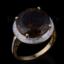 Attractive Cheap Fashion Jewelry 18Kt Yellow Gold Natural Diamond Smoke Topaz Ring WR0016