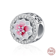 Authentic 925 Sterling Silver Crystal Bead Colourful Flowers Glaze Beads Fit Original Pandora Charms Bracelet & Bangle Jewelry(China)