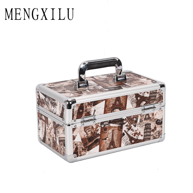 MENGXILU Women Large Capacity Professional Makeup Organizer Toiletry Cosmetic Bag Multilayer Storage Box Portable Pretty Suitcas<br>