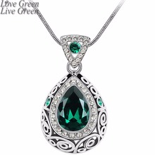 2017 vintage quality wedding bridal18K gold color Angel Ocean Tear Design green crystal Pendant fashion Necklace Jewelry 84191(China)