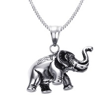Mprainbow Men's Small Lucky Elephant Necklace in Silver-color Stainless Steel Pendant Charms Jewelry Animal Lovers Free 24inch