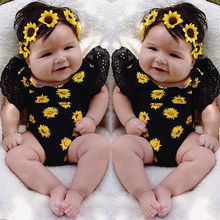 Sunflower Lovely Romper Newborn Baby Girls sleeveless Clothes Romper Jumpsuit Outfits