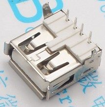 50pcs BRASS PART USB-A USB Female Type A 4-Pin DIP Right Angle Plug Jack Connector 90 deg Bent pins , NOT iron !(China)