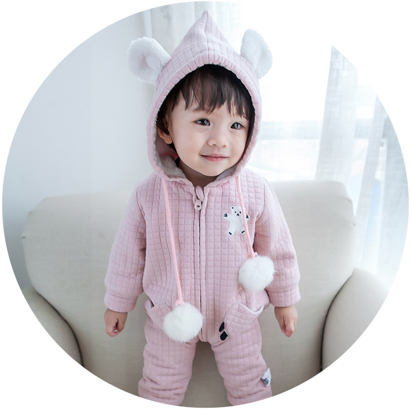 Winter baby warm clothes newborn girls and boys cartoon bear modeling rompers infant cotton Checkered printing jumpsuit<br>