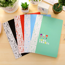 5pcs/lot 25.8*18.4cm Korean Stationery Solid Color Small Fresh Love London Travel 16k Work Notebook Car Line B5 Thing Book(China)