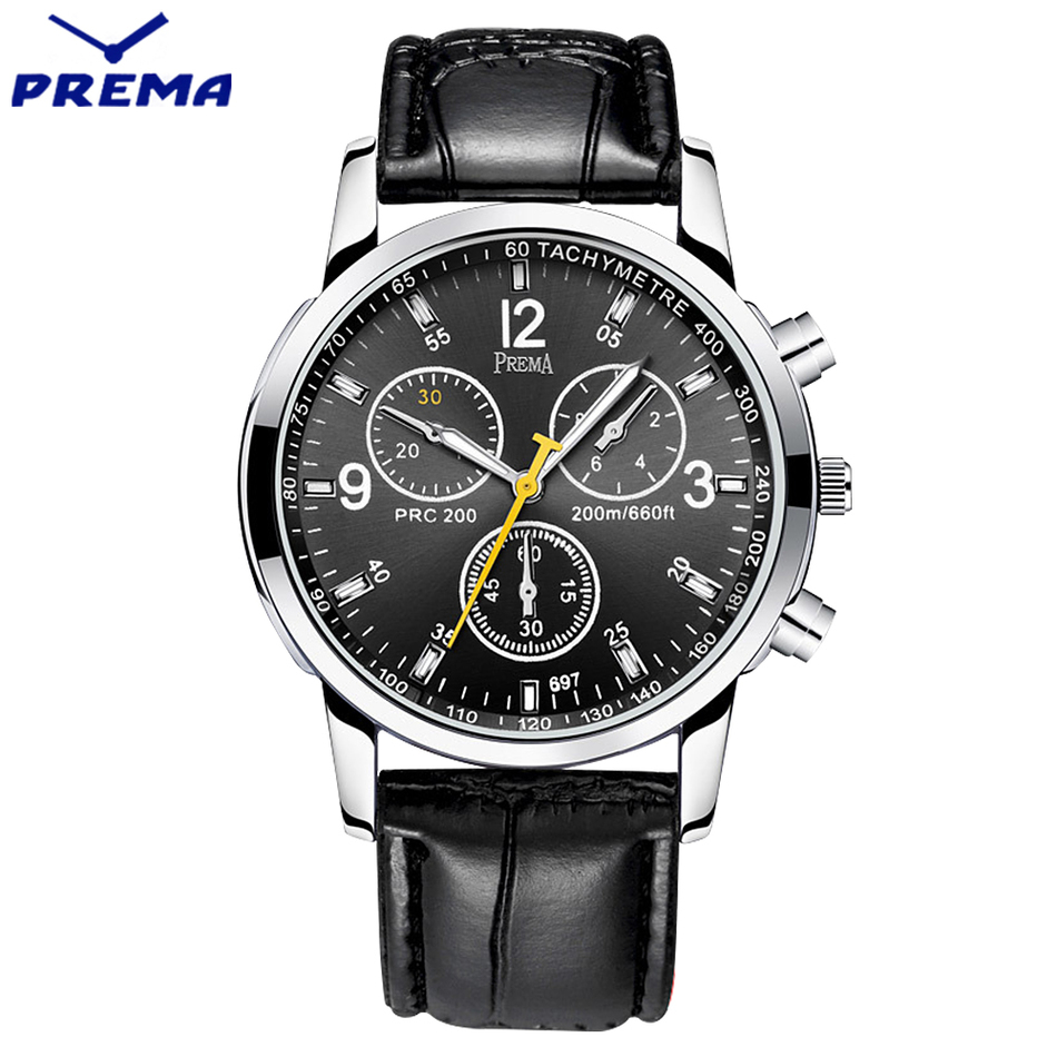 2016 PREMA Luxury Brand Men Watches Black Leather Clock Male Quartz Fashion Sport Watch Men Waterproof Casual Wristwatch relogio<br>