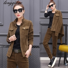 2017 Spring and Autumn Slim new women's corduroy suit large size fashion leisure two-piece Jacket + pants(China)