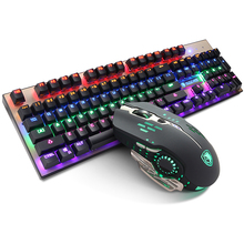 SADES Wired USB Computer Gaming Metal Mechanical Keyboard and Mouse Set colorful backlight keyboard+e-sports gaming mouse combo
