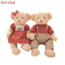 Lovcha 45cm 2pcs/pair lovely big size couple teddy bear with cloth plush toy dolls girls birthday&christmas gift 100% good(China)