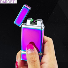 2017 news photoelectric induction electric cigarette lighter USB charging ultra-thin windproof lighter metal electropl lighters