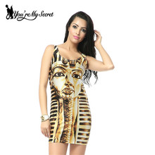 [You're My Secret]HOT Fashion Sundress Fashion Women Egyptian Mummy Print Galaxy Dress Black Milk Dress Sleeveless Women Dresses