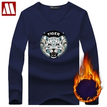 2018 Winter Mens Thermal Undershirt Long Sleeve Man velvet tshirt King size Male Fashion White Tiger Printed Hombre Undershirts(China)