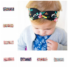 2017 new Fashion children Top Knot Headbands girls Headwrap Rhinestone Hair band Cross Knot Turban Tie Knot Headwrap
